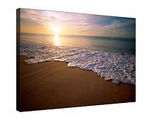 Waves Beach at Sunset - Gallery Giclee Canvas Wall Art +Sizes