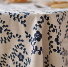 Blue Leaves Home Bar Coffee Table Cotton Linen Cloth Cover oUSr