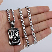 """20-24"""" MENS Boy Stainless Steel Gold Silver Swirl Dog Tag Pendant Necklace Chain"""