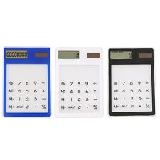 Ultra Slim Solar Touch Screen LCD 8 Digit Electronic Transparent Calculator F7