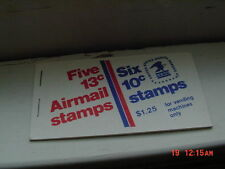 1 MINT BOOK OF 5  13 CENT AIRMAIL STAMPS AND 6  10 CENT STAMPS