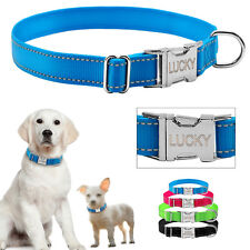Nylon Reflective Personalized Dog Collars Custom Pet Puppy Cat ID Collar Tag S-L