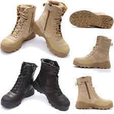Men Side Zip Suede Leather Combat Work Outdoor Ankle Tactical Desert Army Boots