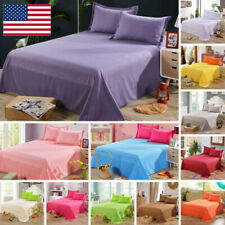 Cotton Flat Sheet Pillowcases Coverlet Set Comfort Solid Color Bed Cover 1/2pcs