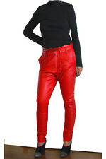 NEW ONE TEASPOON GENUINE LEATHER PANTS 26 S 4 8 $450 WOMEN RED HIGH WAISTED