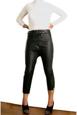 NEW ONE TEASPOON GENUINE LEATHER PANTS S 2 4 6 8 $300 WOMEN BLACK HIGH WAISTED
