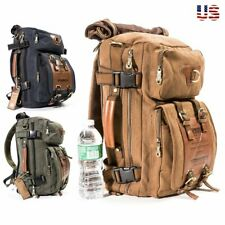 Vintage Canvas Handbag Messenger Bag Multi-pocket Tote Backpack Travel Rucksack