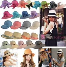 LADIES STRAW BEACH HATS FEDORA FLOPPY BOW STRIPE WICKER BONNET CAP PAPER WEAVED