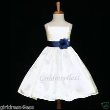 IVORY/NAVY BLUE SPAGHETTI STRAPS SATIN FLOWER GIRL DRESS 12M 18M 2 4 6 8 10 12