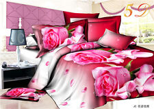 3D Duvet Cover Pillow Case Quilt Cover Bedding Set Queen King Pink Roses AUOZ