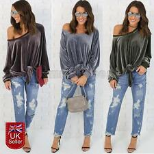Womens Ladies Velvet One Off Shoulder Tops Blouse Loose Casual Long Sleeve New