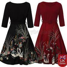 UK Womens 50s Retro Swing Rockabilly Vintage Pinup Daily Party Prom Dress Swan