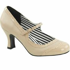 Pleaser JENNA-06 Spectator Mary Jane Pump Cream Size 9-16 Retro Rockabilly Pinup