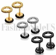 Stainless Steel Mens Women Gold Silver Black Tone Round Barbell Ear Stud Earring
