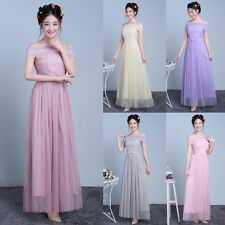 Women Off Shoulder Bridesmaid Party Pageant  Prom Gown Long Maxi Dress