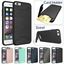 Slim Wallet Card Holder Kickstand Heavy Duty Hard Case Cover For iPhone &Samsung
