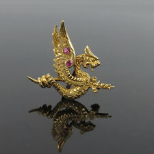 Antique Dragon Impaled on a Sword 0.10ct Ruby & 14K Yellow Gold Pin Fob