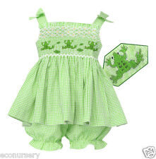 """Aurora Royal Girls Hand-Smocked """"Happy Frog"""" Gingham Top & Pantie Outfit"""