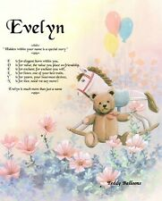 Teddy Balloons or Bears Personalized Name Meaning Nursery Day Room Wall Print