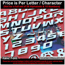 SKU#ST New Style Italic Universal Chrome Letter Alphabets Car Badge Decal Emblem