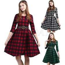 Womens Vintage 50s 60s Retro Rockabilly Pinup Check Evening Party Swing Dress