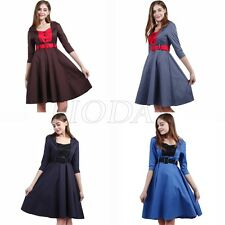 Women Retro Vintage 50s 60s Colorblock Rockabilly Pinup Flared Swing Party Dress