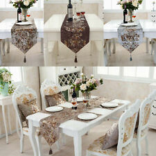 "US 72""X12"" Wedding Decor Raised Flower Blossom Flocked Damask Table Runner Cloth"
