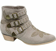 Deichmann Catwalk women Studded Western Ankle Boots grey New
