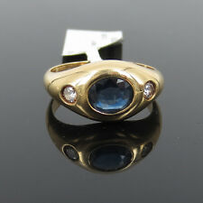 Estate 0.90ct Natural Sapphire & 0.20ct Diamond 18K Yellow Gold Ring