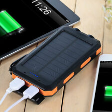 Waterproof 20000mAh LED Portable Solar Panel Charger Dual USB Battery Power Bank
