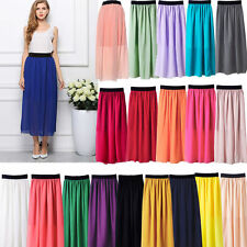 Retro Women Double Layer Elastic Waistband Pleated Chiffon Long Maxi Skirt Dress
