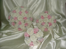 White / Ivory / Baby Pink roses crystal and pearl wedding flowers, bouquets