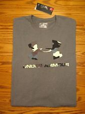 New Under Armour Camo Logo T-Shirt 1304972 Gray Charged Cotton Men's 2XL