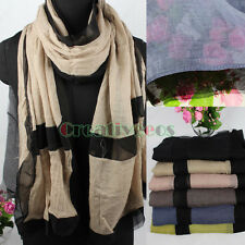 Fashion Women's 2Tone Color Cotton Stitching Chiffon Long Scarf Wrap Shawl New