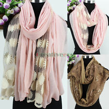 Women Embroidery Floral Mesh Sheer Flower Sequins Long Shawl/Infinity Loop Scarf