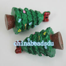 Wholesale Lovely Gifts 23*38MM 5Pcs Small Resin Christmas Tree Key Chain Pendant