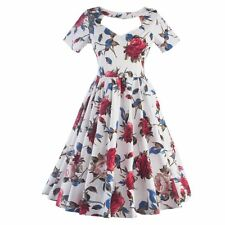 Women Floral Printed Vintage Style 1950'S 1960'S Swing Cocktail Party Dress