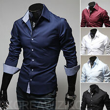 Fashion Mens Luxury Stylish Casual Dress Shirts Long Sleeve Slim Fit T-Shirts hq