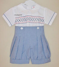 BABY BOYS SPANISH STYLE SMOCKED SHIRT SHORTS SET 3 6 12 Months 2 3 4 5 6 yrs