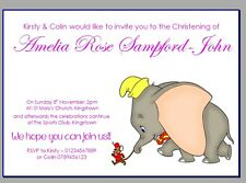 personalised party invites invitations CHRISTENING NAMING DAY DISNEY DUMBO