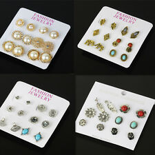 6 Pairs Bling Crystal Pearl Ear Studs Earrings Set Turquoise Women Girls Jewelry