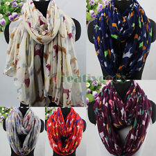 Trendy Fashion Animal Multicolor Dog Print Long Scarf/Infinity Loop Cowl Scarf