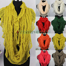 Women Fashion Knit Ruffle Trim Hollow Out Shawl Infinity Loop Cowl Scarf Solid
