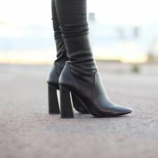 ZARA *Real Leather* Black High Heel Ankle Boots_NEW_UK7