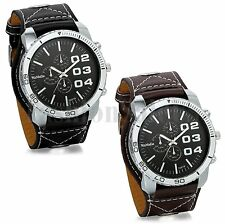 Fashion Men's Business Casual Round Dial Leather Band Analog Quartz Wrist Watch