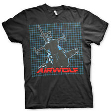 Airwolf Pattern Black Mens T-Shirt 80s Retro Official Gift TV SHOW Nostalgia