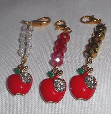 Rhinestone Cloisonné Red Apple Charm & Crystals Purse Handbag Pull Chain