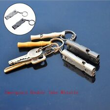 Double Tube High Decibel Whistle Survival Stainless Steel Whistle Camping Tools
