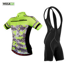 New Cycling Suits Short Sleeve Jersey Bib Shorts Pad Bike Bicycle Clothing Black