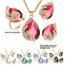 Peacock Style Brass Plated Gold crystal Bride Jewelry Necklace Earring Ring P5A